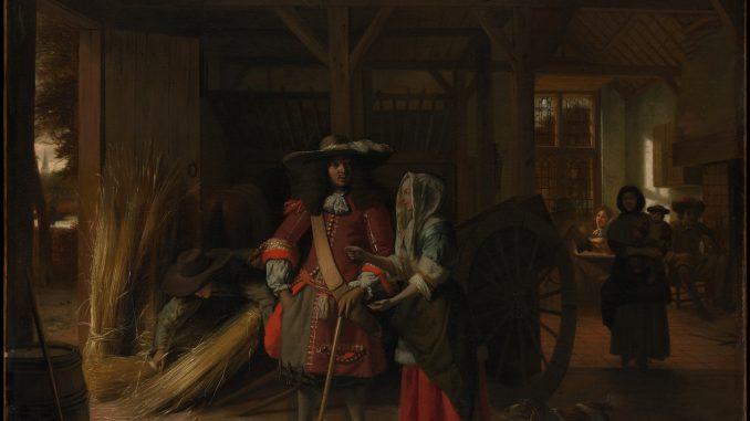 Pieter de Hooch: Officer Paying a Woman in a Stable