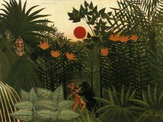 Henri Rousseau: Tropical Landscape: American Indian Struggling with a Gorilla