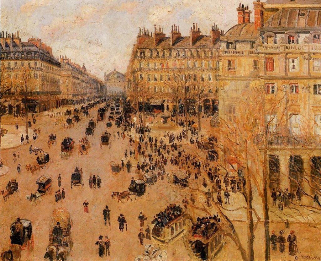 Camille Pissarro: Place du Theatre francais, Sun Effect