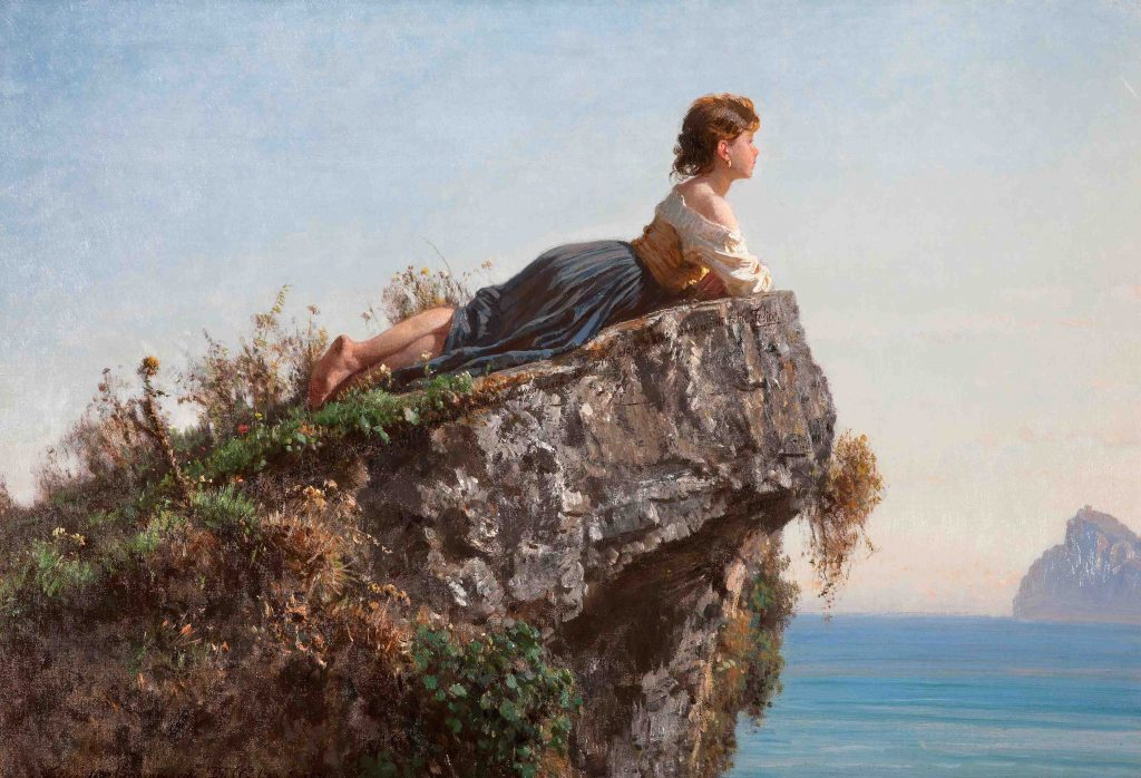Filippo Palizzi: The Girl on the Rock in Sorrento